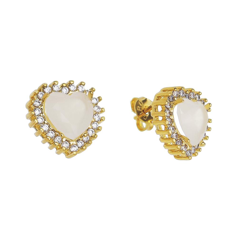 Brinco Coração Cristal Branco Zircônia Ouro 18k