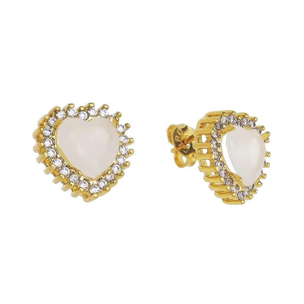 Brinco Coração Cristal Branco Zircônia Ouro 18k- Giro Semijoias