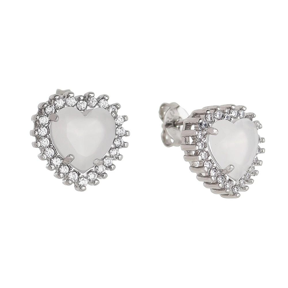 Brinco Coração Cristal com Zircônia Ródio Branco - Giro Semijoias