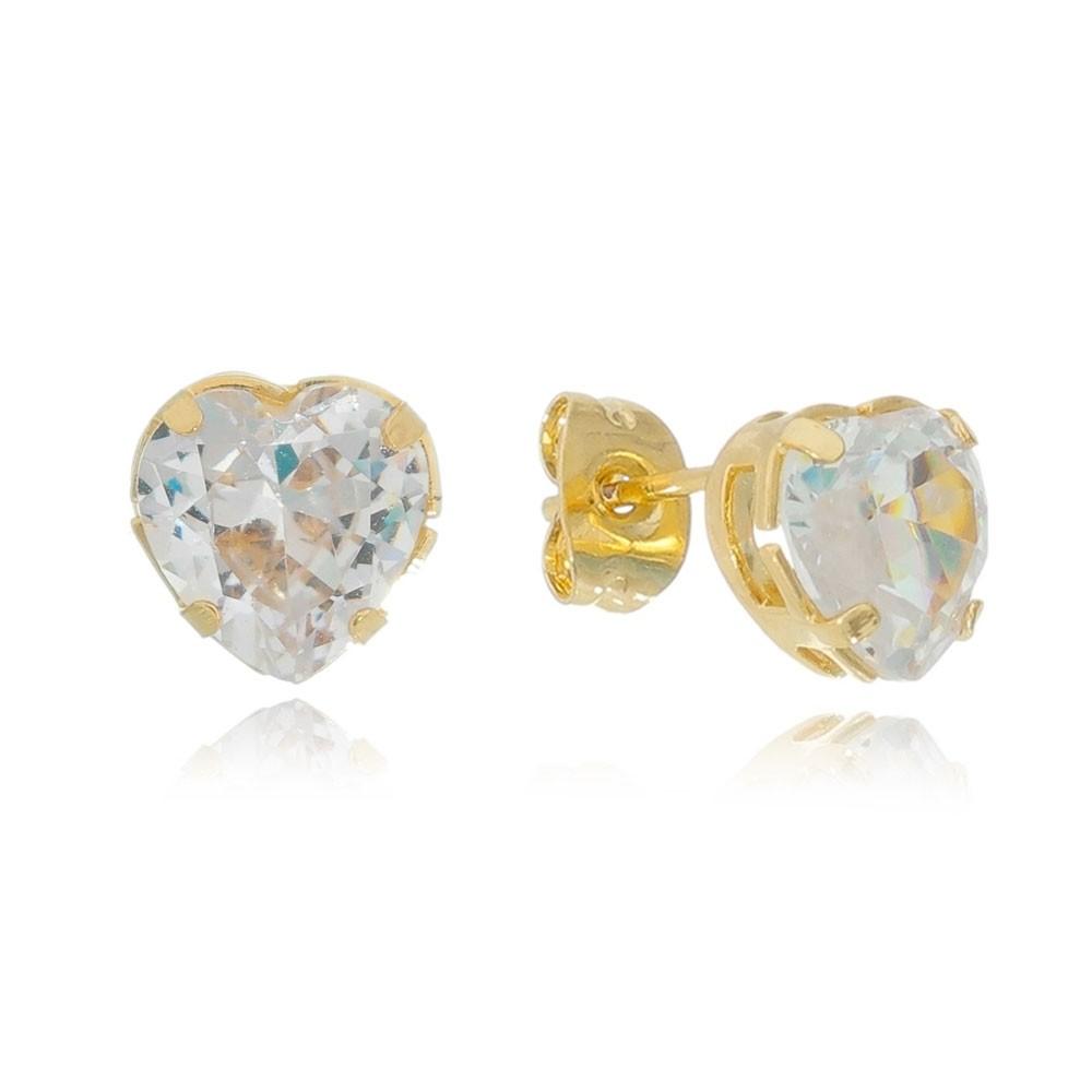 Brinco Coração Cristal Incolor G Folheado em Ouro 18k - Giro Semijoias