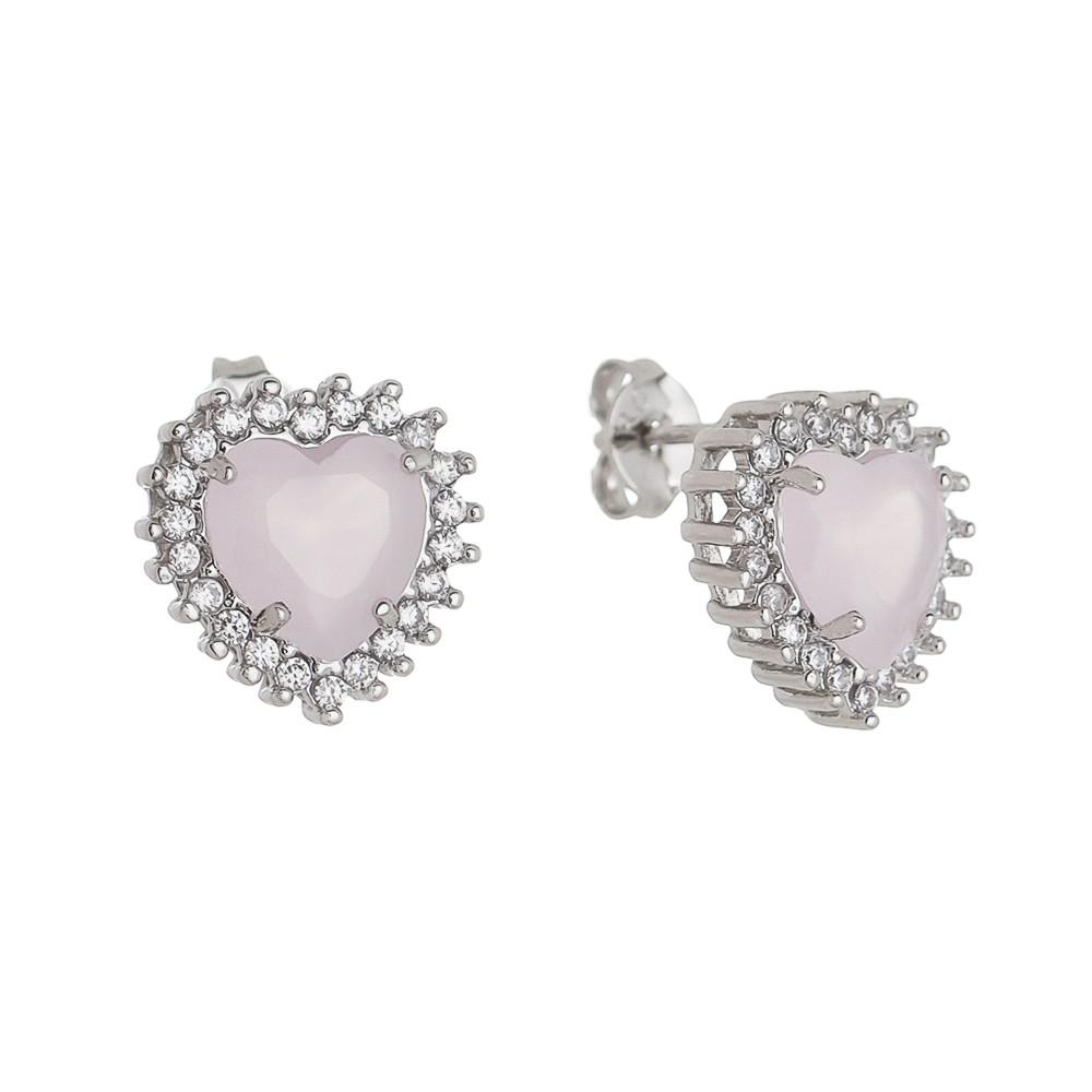 Brinco Coração Cristal Rosa com Zircônia Ródio Branco - Giro Semijoias
