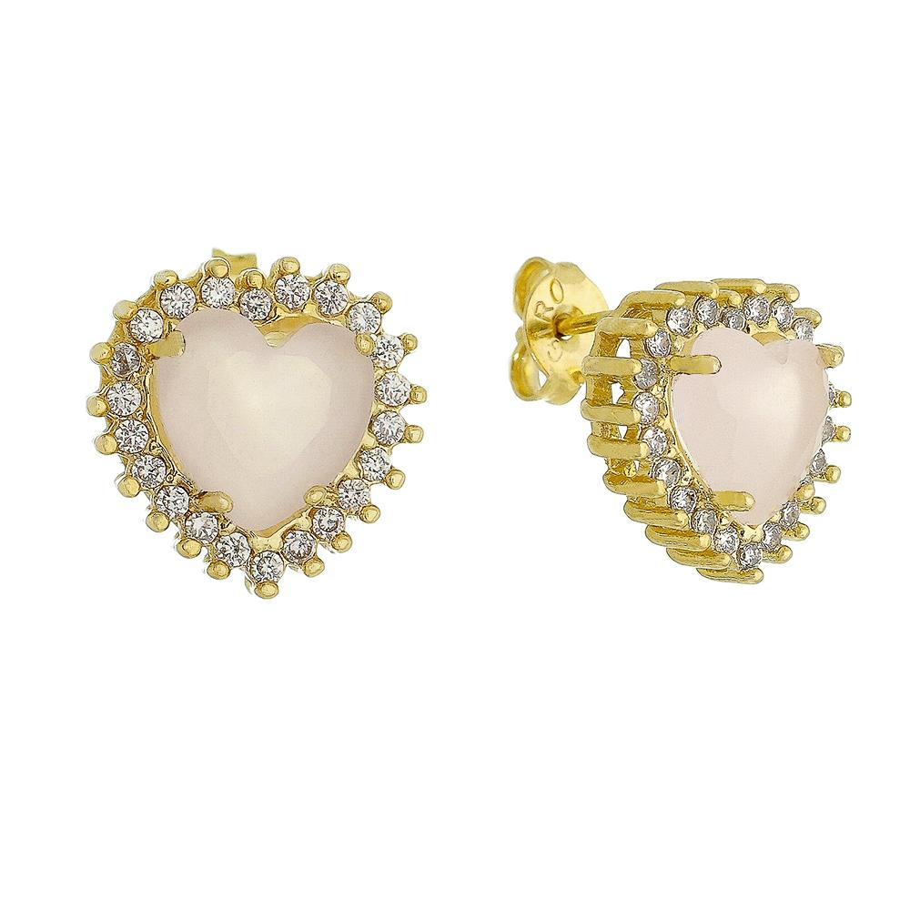 Brinco Coração Cristal Rosa Zircônia Ouro 18k