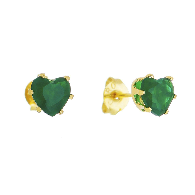 Brinco Coração Cristal Verde Esmeralda Ouro 18k- Giro Semijoias