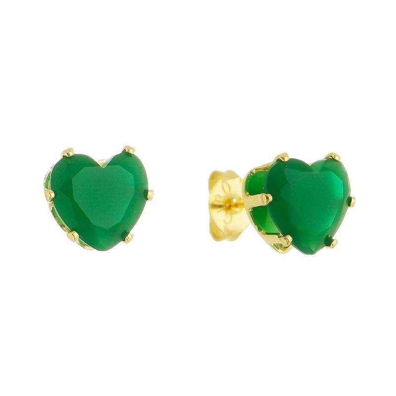 Brinco Coração Cristal Verde Folheado em Ouro 18k - Giro Semijoias
