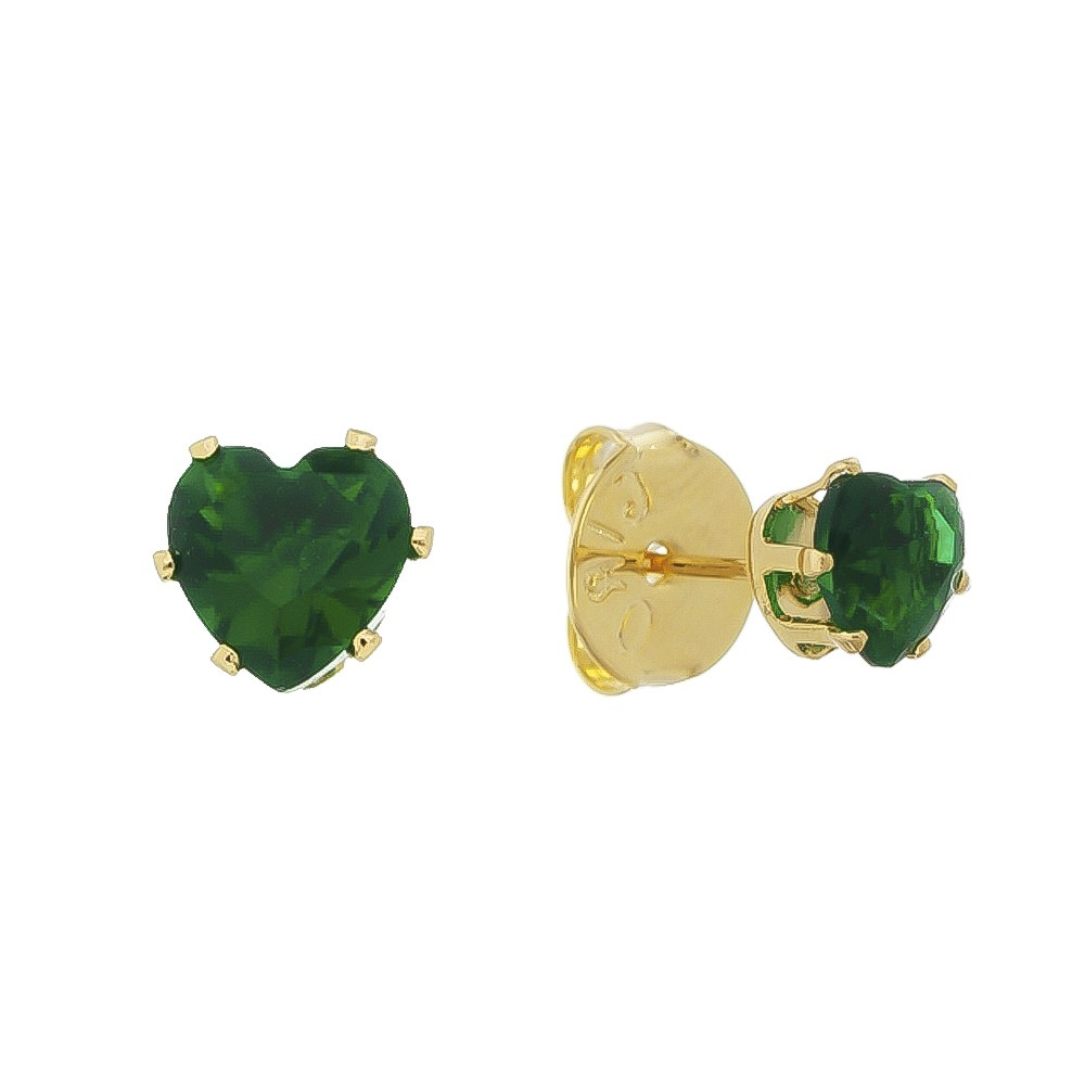 Brinco Coração Cristal Verde M Folheado em Ouro 18k - Giro Semijoias