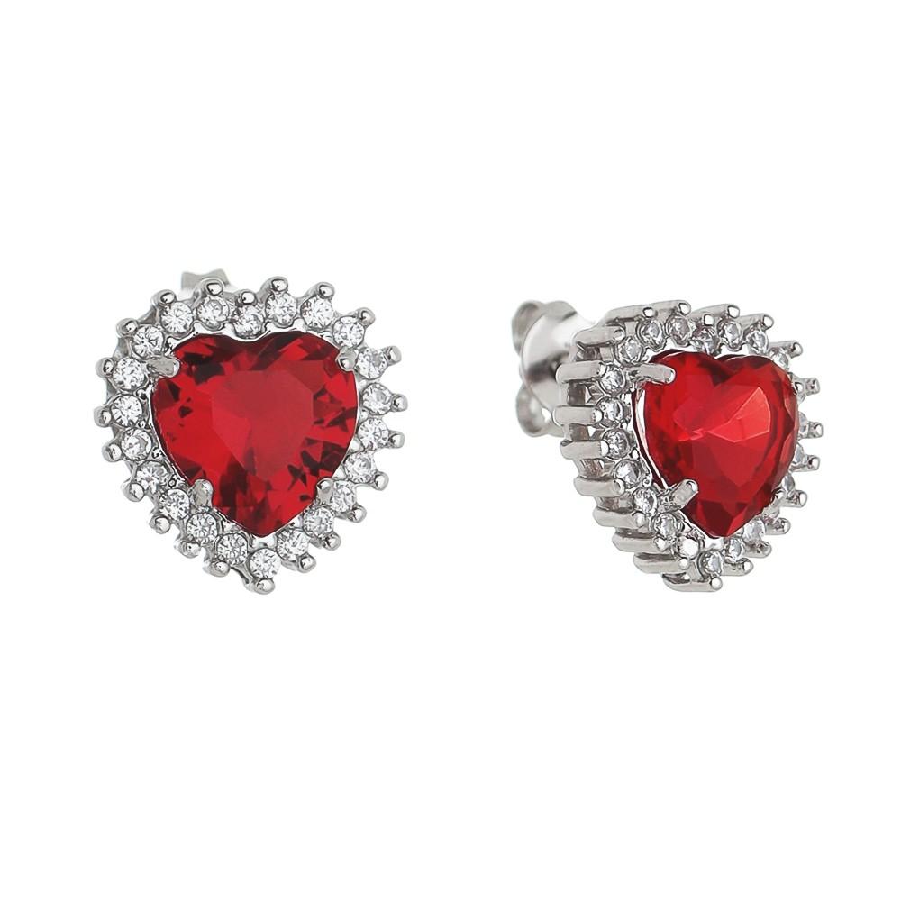 Brinco Coração Cristal Vermelho C/ Zircônia Ródio Branco- Giro Semijoias