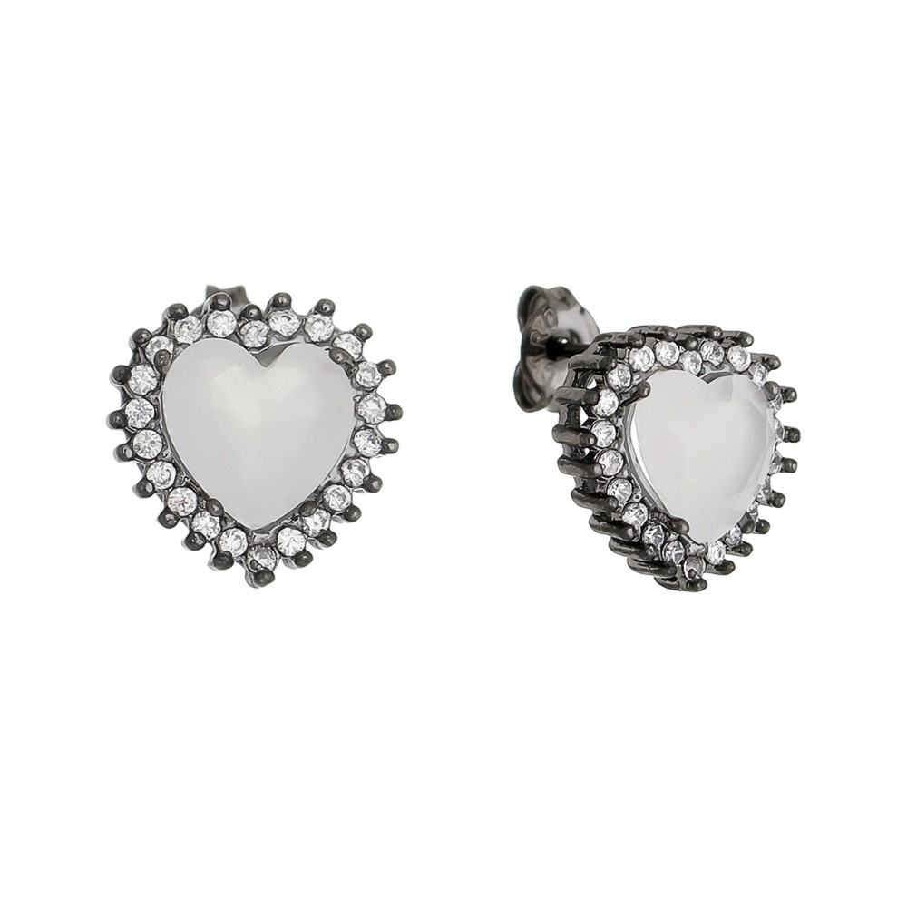 Brinco Coração Cristal Zircônia Ródio Negro - Giro Semijoias