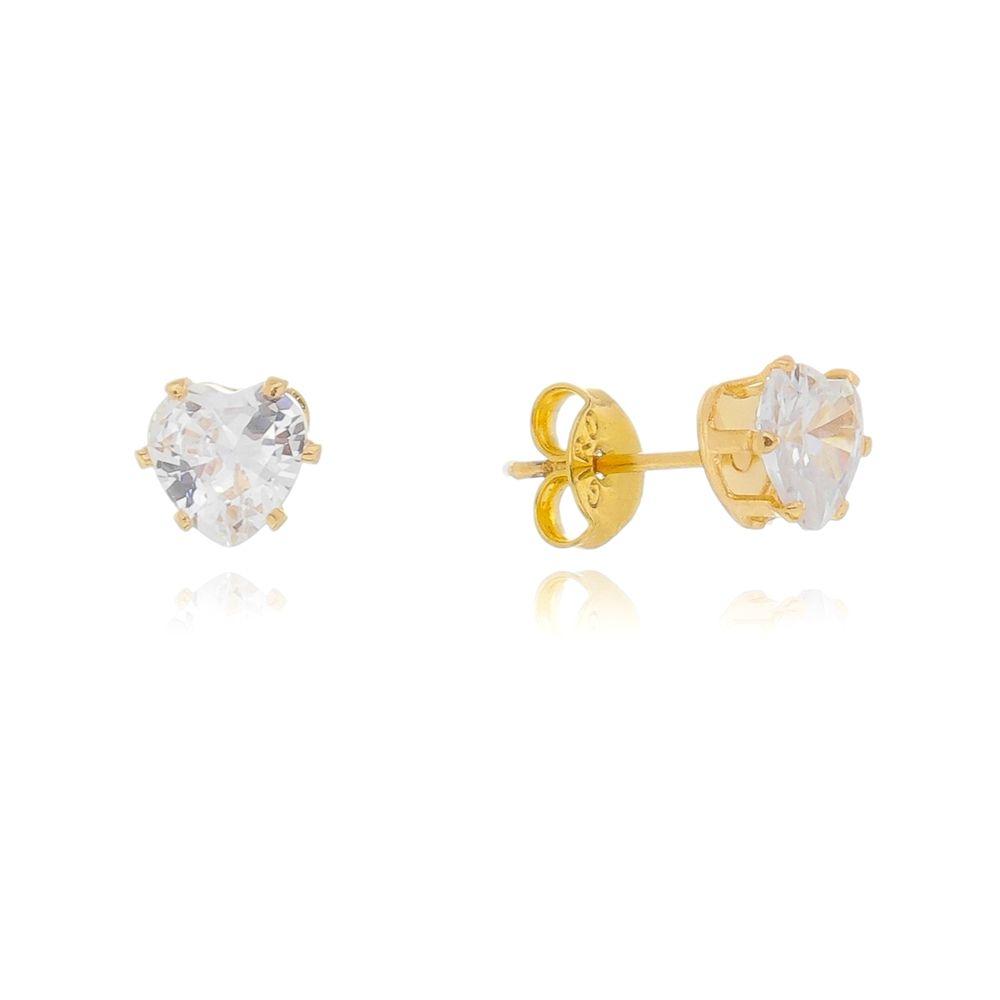 Brinco Coração de Pedra Zircônia Ouro 18k - Giro Semijoias