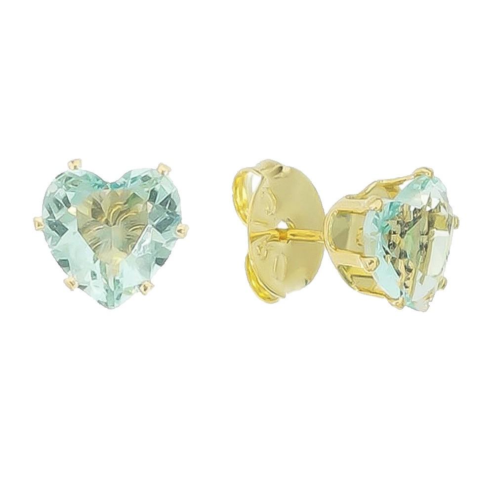 Brinco Coração em Cristal Verde Água Folheado em Ouro 18k - Giro Semijoias