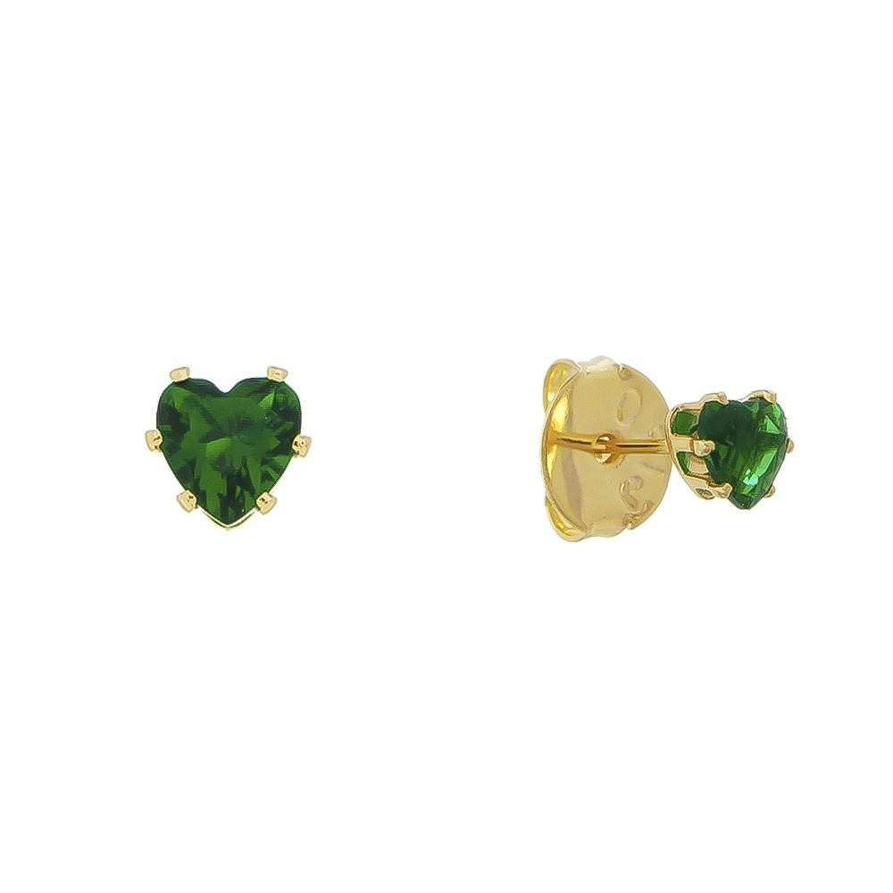 Brinco Coração em Cristal Verde P Folheado em Ouro 18k - Giro Semijoias