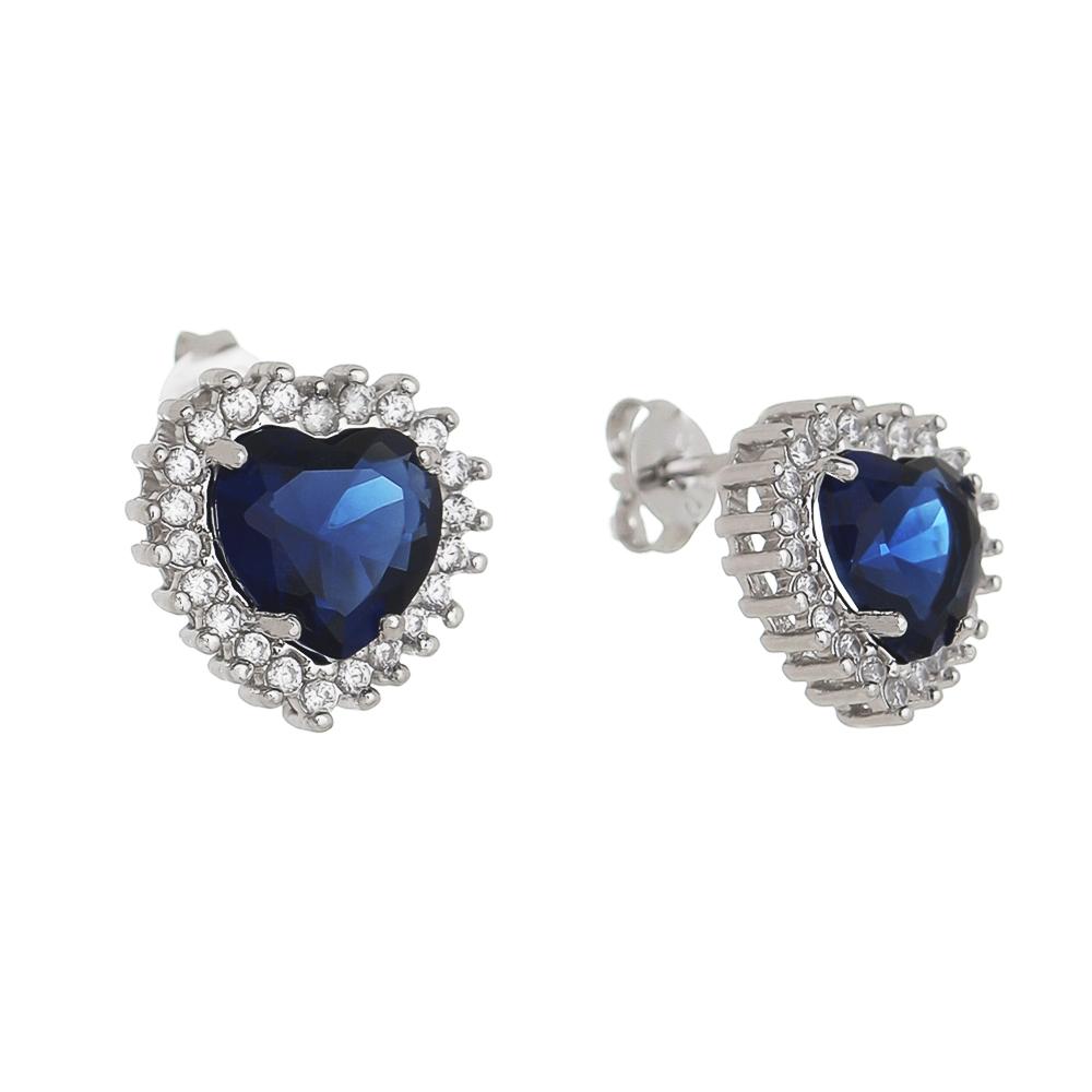 Brinco Coração em Zircônia Azul G Folheado em Ródio Branco