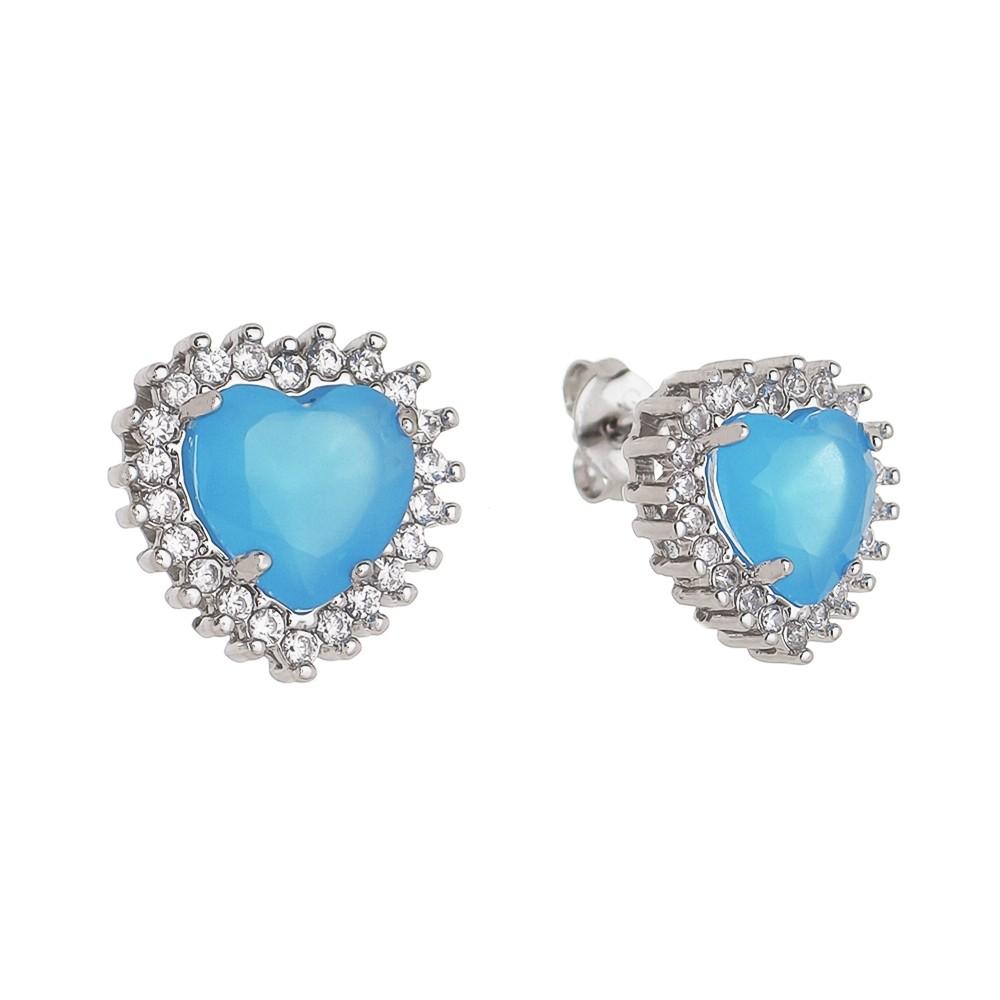 Brinco Coração em Zircônia Azul G Folheado em Ródio Branco - Giro Semijoias