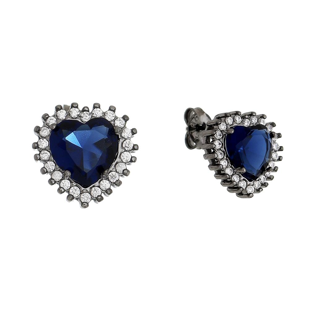 Brinco Coração em Zircônia Azul G Folheado em Ródio Negro