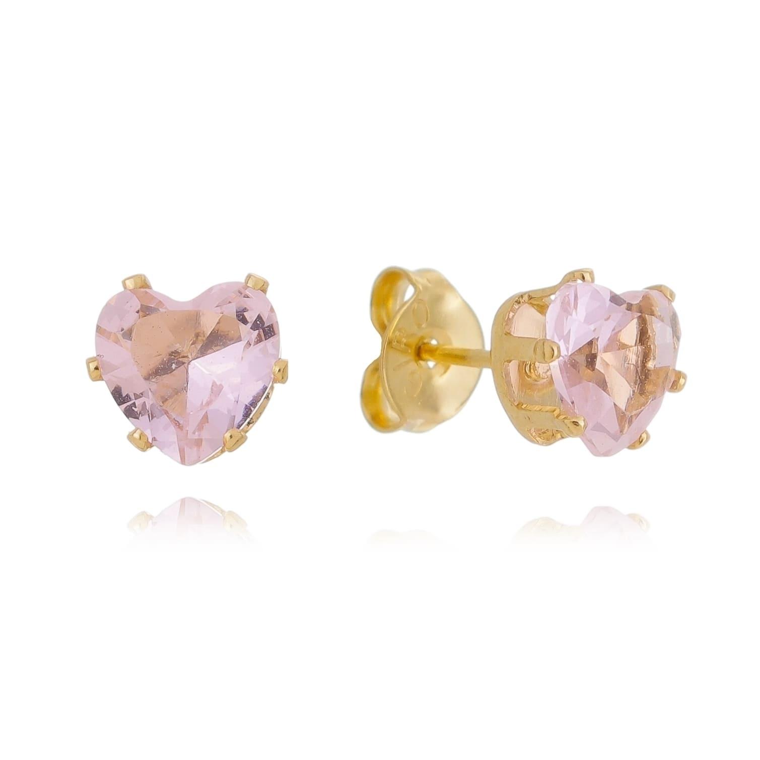 Brinco Coração em Zircônia Rosa Folheado em Ouro 18k - Giro Semijoias
