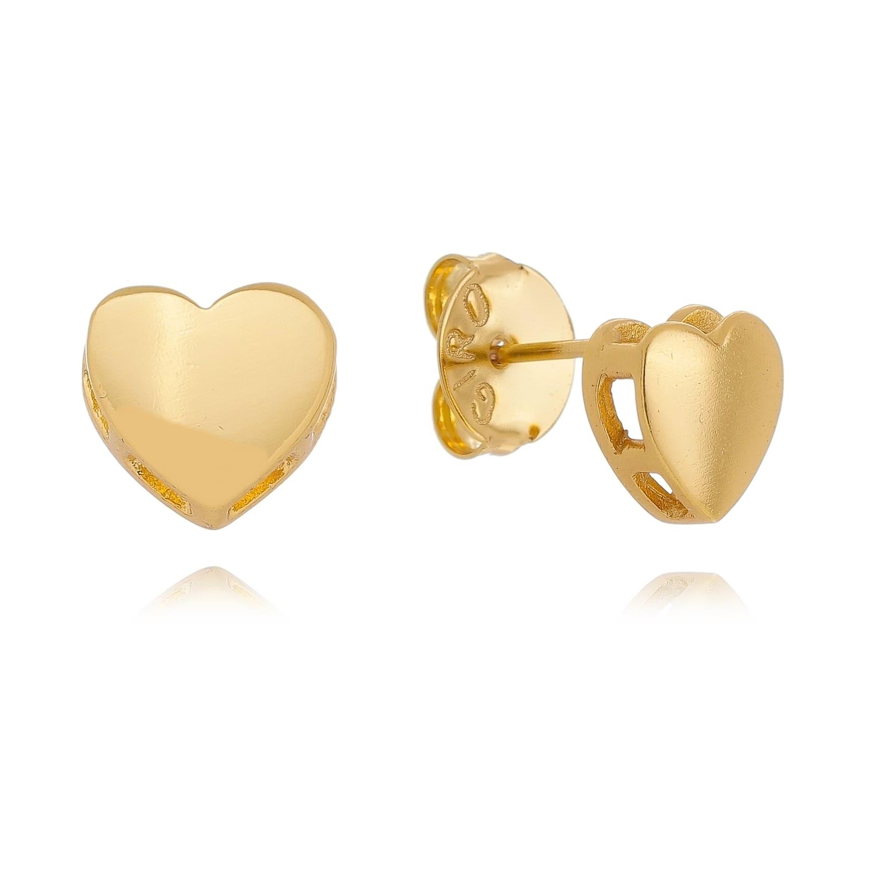 Brinco Coração Folheado em Ouro 18k