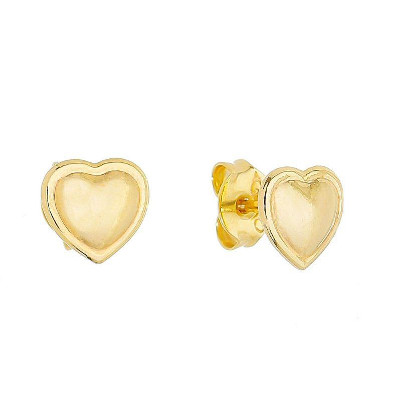 Brinco Coração Liso C/ Contorno Ouro 18k- Giro Semijoias