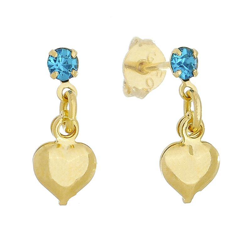 Brinco Coração Liso C/ Ponto de Luz Zircônia Azul Ouro 18k