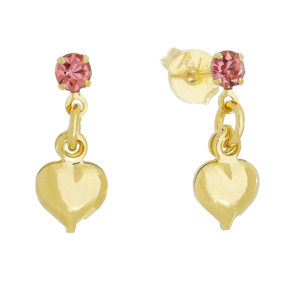Brinco Coração Liso C/ Ponto de Luz Zircônia Rosa Ouro 18k