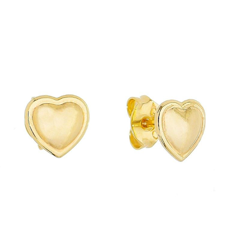 Brinco Coração Liso com Contorno Folheado em Ouro 18k - Giro Semijoias