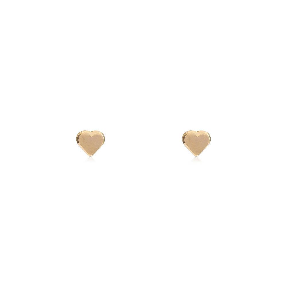 Brinco Coração Liso PP Folheado em Ouro 18k