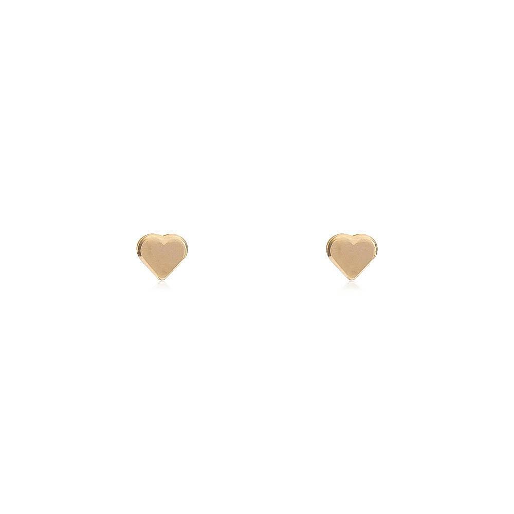 Brinco Coração Liso PP Folheado em Ouro 18k - Giro Semijoias