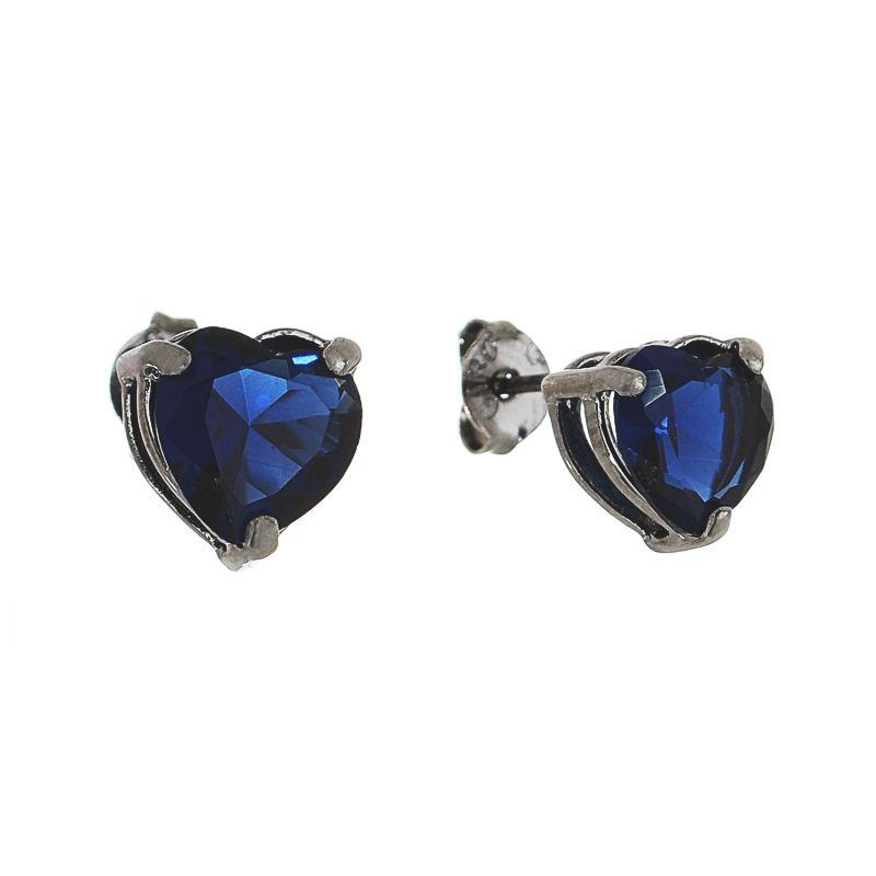 Brinco Coração P Cristal Azul Folheado em Ródio Negro