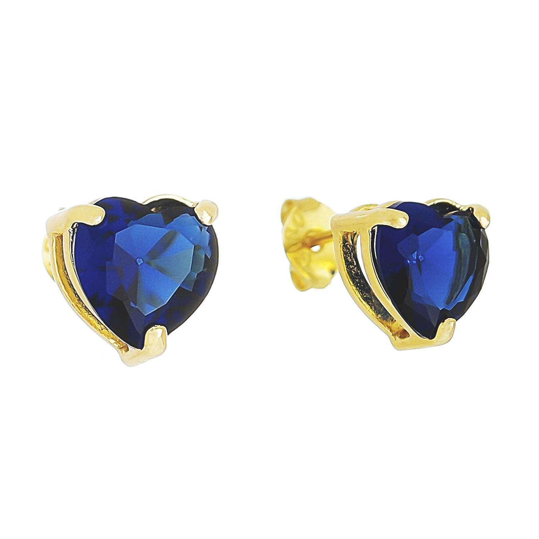 Brinco Coração P Cristal Azul Marinho Camilla - Banho Ouro 18k