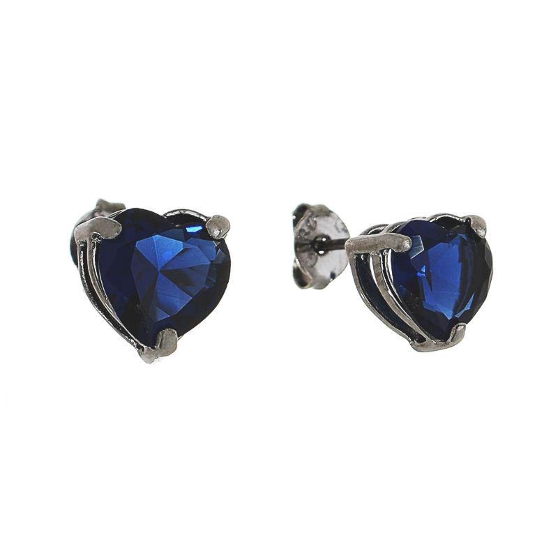 Brinco Coração P Cristal Azul Marinho Ródio Negro - Giro Semijoias