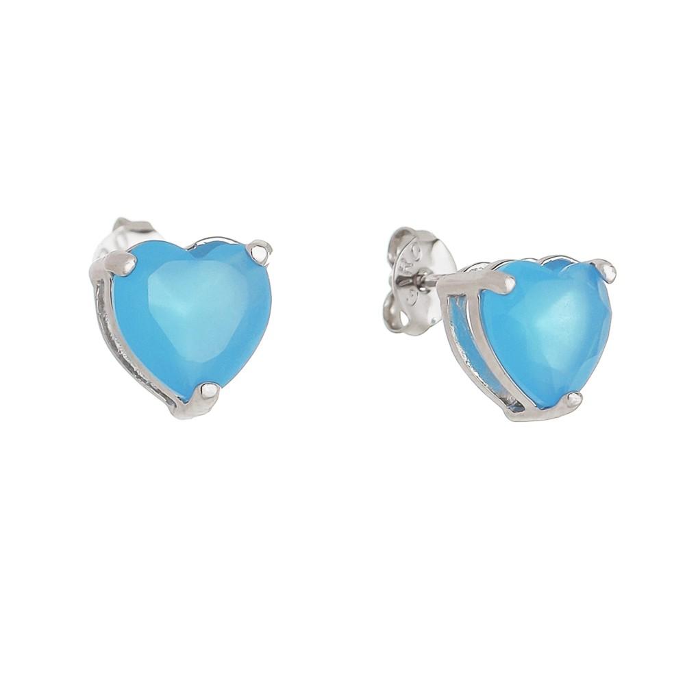 Brinco Coração P Cristal Azul Ródio Branco - Giro Semijoias