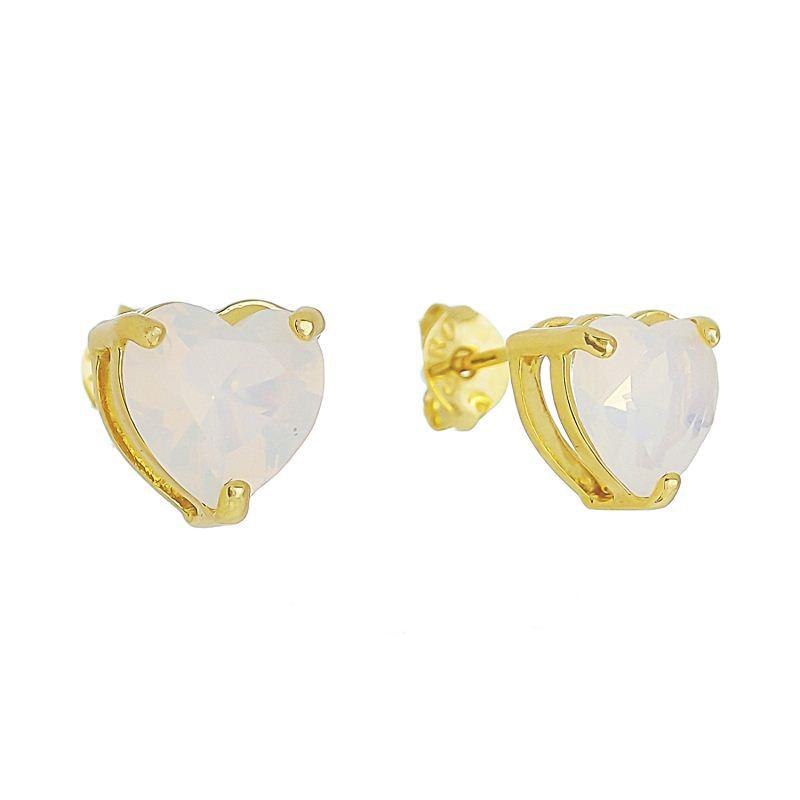 Brinco Coração P Cristal Branco Ouro 18k- Giro Semijoias