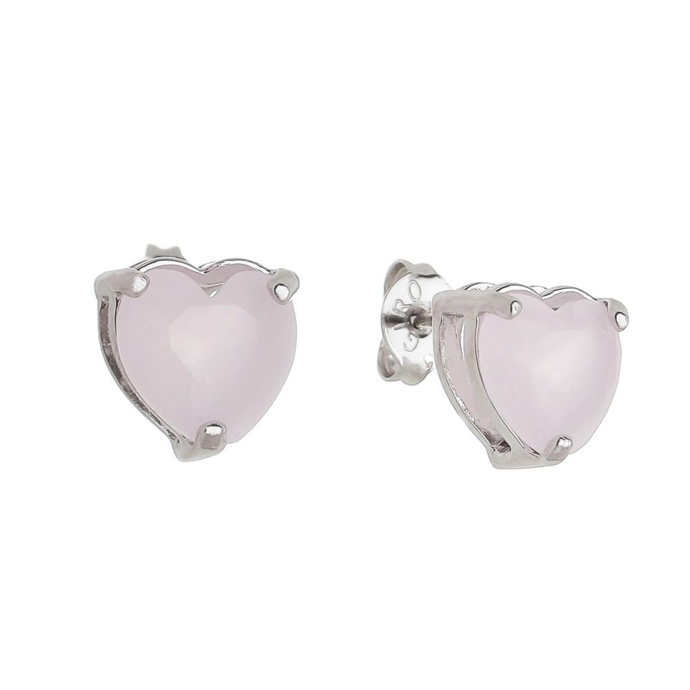 Brinco Coração P Cristal Rosa Ródio Branco - Giro Semijoias
