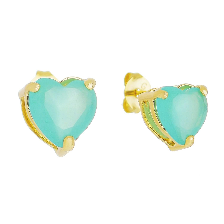 Brinco Coração P Cristal Verde Água Camilla - Banho Ouro 18k