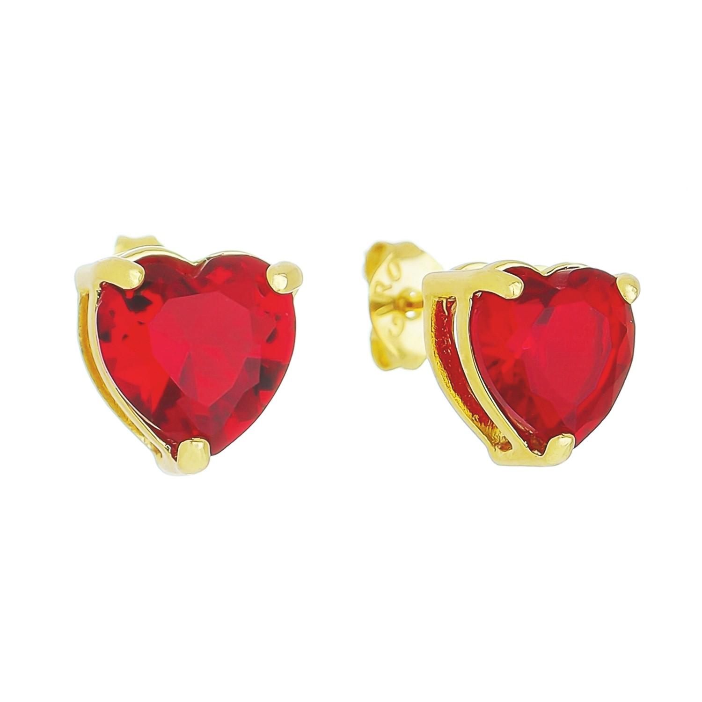 Brinco Coração P Cristal Vermelho Camilla - Banho Ouro 18k