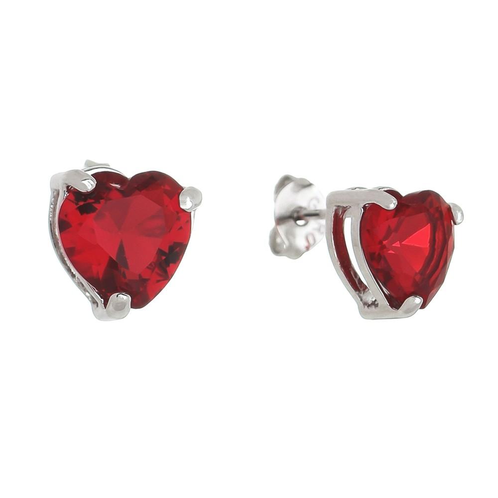 Brinco Coração P Cristal Vermelho Ródio Branco - Giro Semijoias