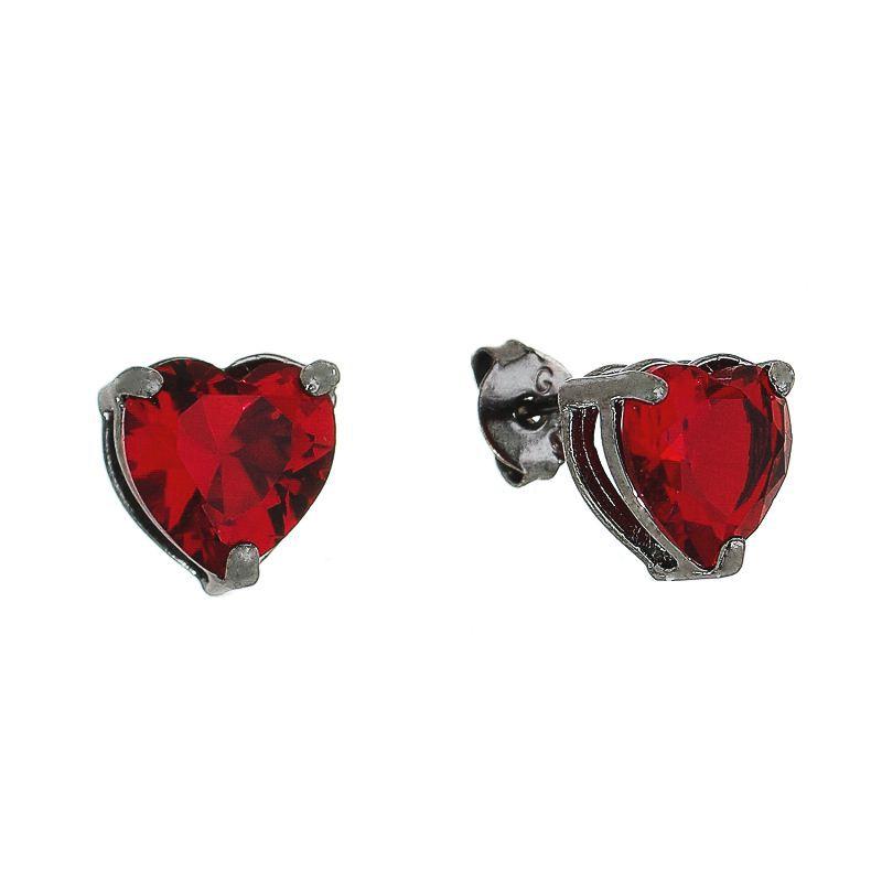 Brinco Coração P Cristal Vermelho Ródio Negro - Giro Semijoias