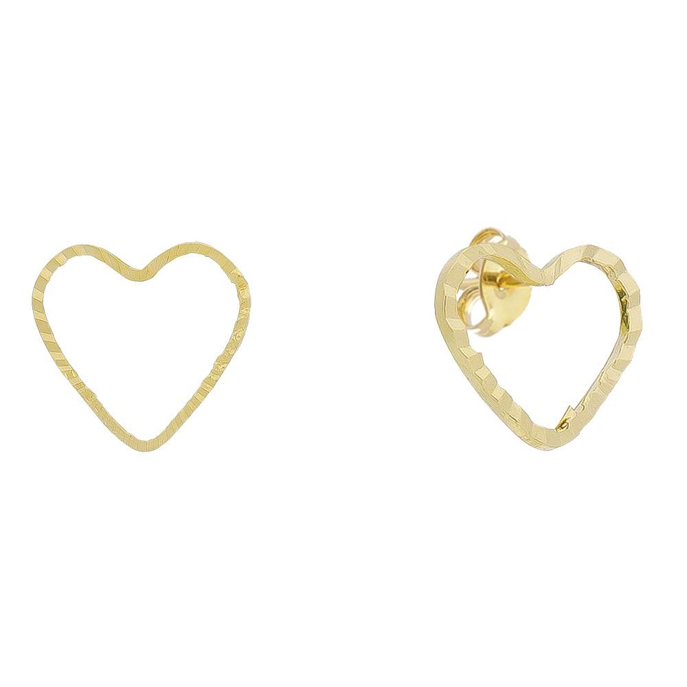 Brinco Coração P Riscado Folheado em Ouro 18k - Giro Semijoias