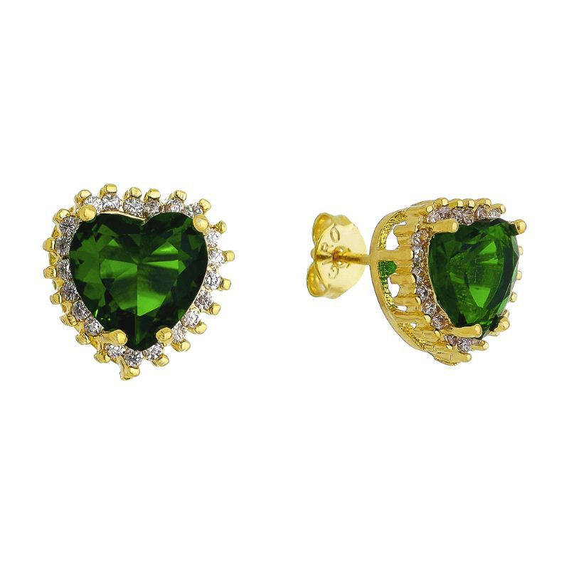 Brinco Coração Pedra Cristal Verde C/ Zircônia Ouro 18k- Giro Semijoias