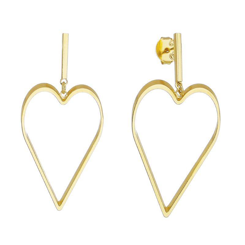 Brinco Coração Pendulo Vazado Liso Ouro 18k- Giro Semijoias