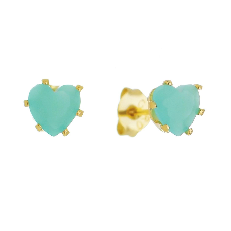 Brinco Coração PP Cristal  Azul Claro Ouro 18k- Giro Semijoias