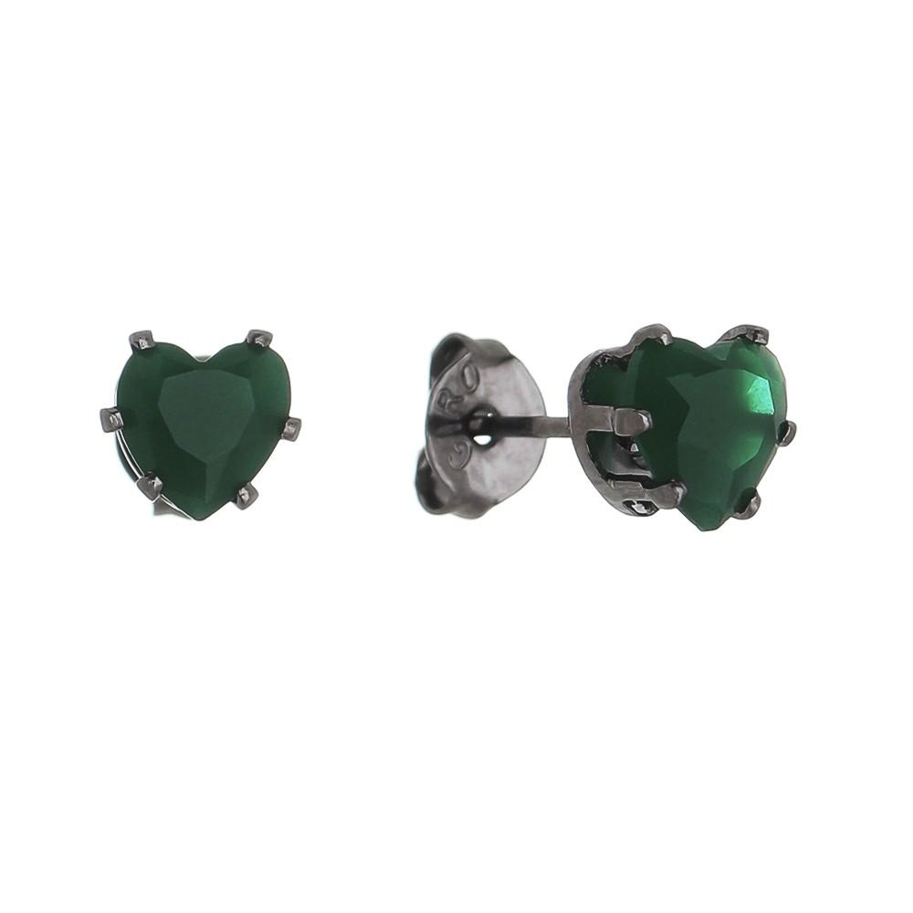 Brinco Coração PP Cristal Verde Ródio Negro - Giro Semijoias