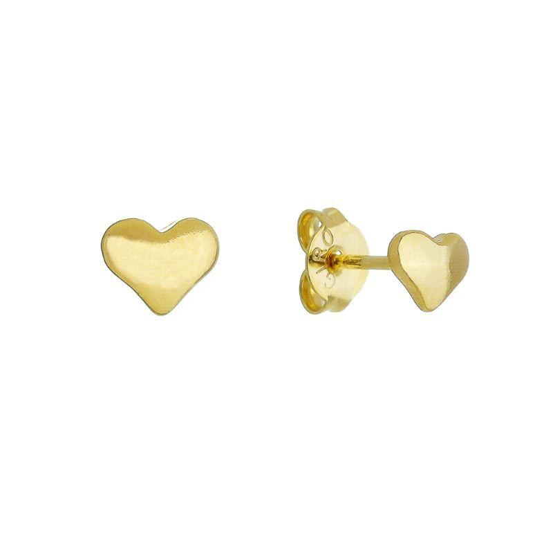 Brinco Coração PP Liso Ouro 18k- Giro Semijoias