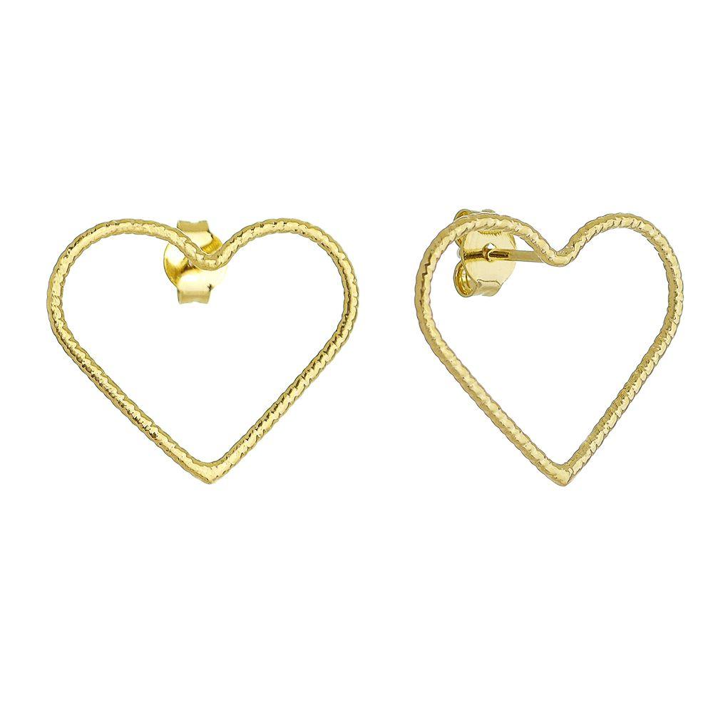 Brinco Coração Vazado C/ Textura Ouro 18k- Giro Semijoias