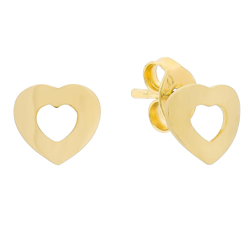 Brinco Coração Vazado Folheado em Ouro 18k