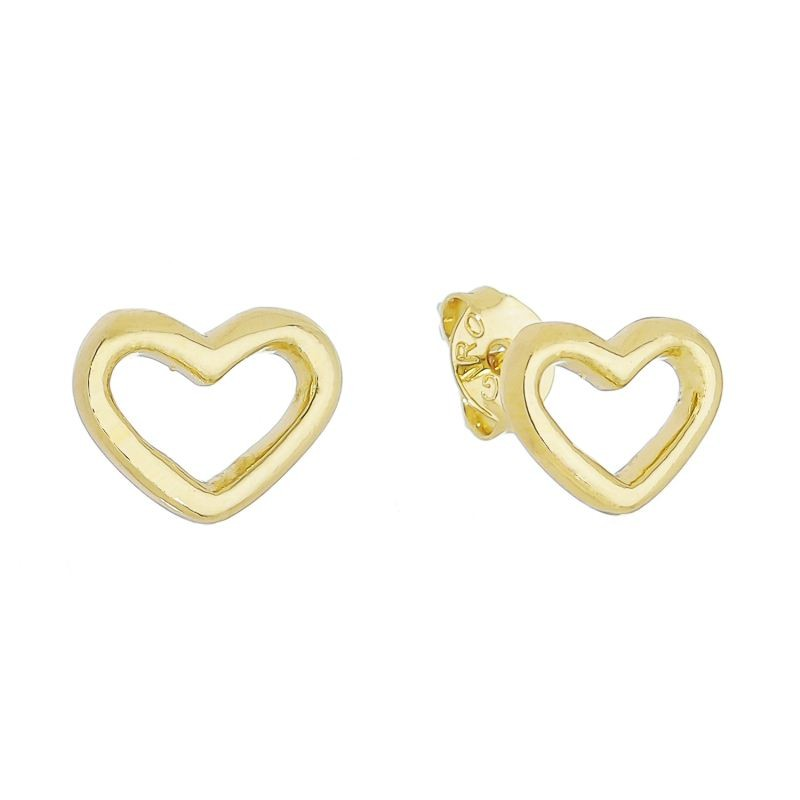 Brinco Coração Vazado Folheado em Ouro 18k - Giro Semijoias