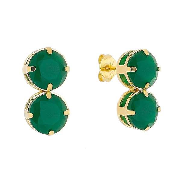 Brinco Cristal Duplo Verde Folheado em Ouro 18k