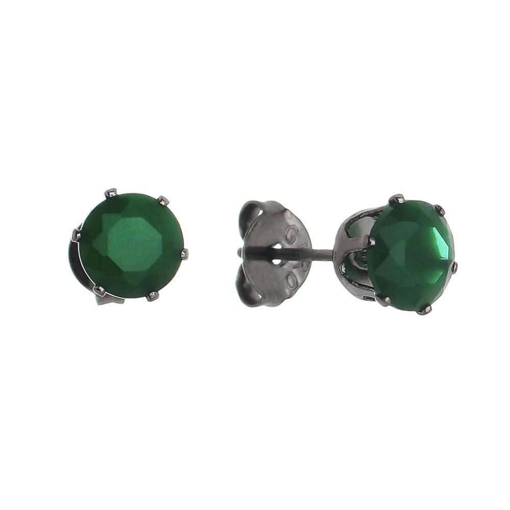 Brinco Cristal Redondo Verde Ródio Negro - Giro Semijoias