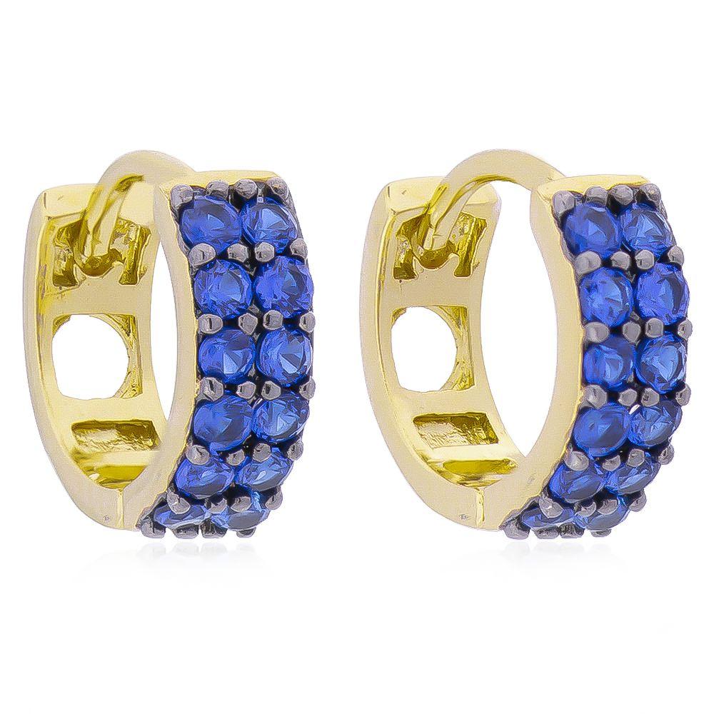 Brinco de Argola 2 Filas Cravejadas em Zircônia Azul P Folheado em Ouro 18k - Giro Semijoias