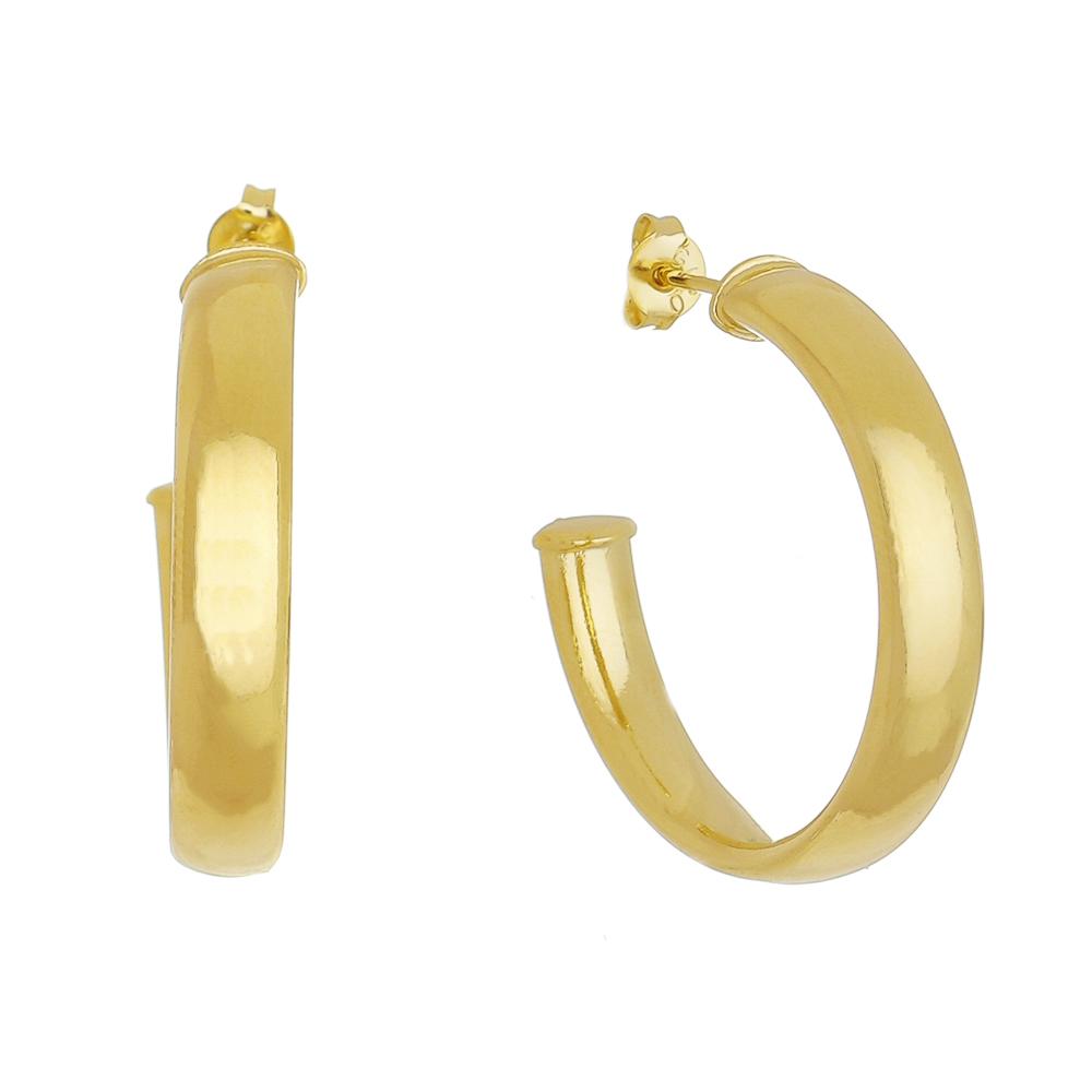 Brinco de Argola Achatada M Folheado em Ouro 18k