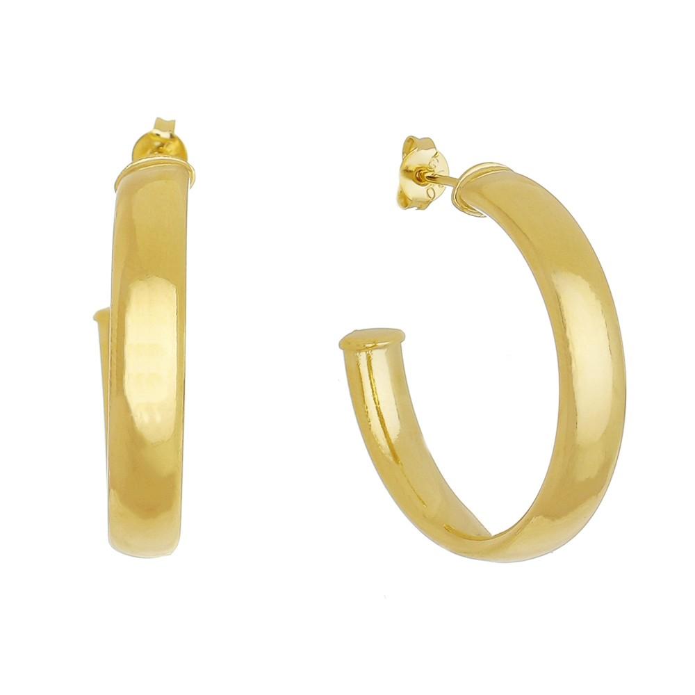 Brinco de Argola Achatada M Folheado em Ouro 18k - Giro Semijoias