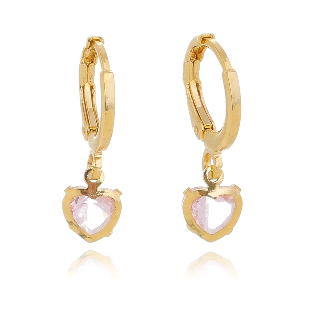 Brinco de Argola com Coração em Zircônia Rosa Folheado em Ouro 18k